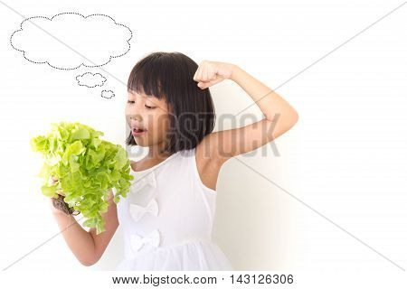 Student Asian Children Is Thinking For Something About Vegetables, Education Concept.