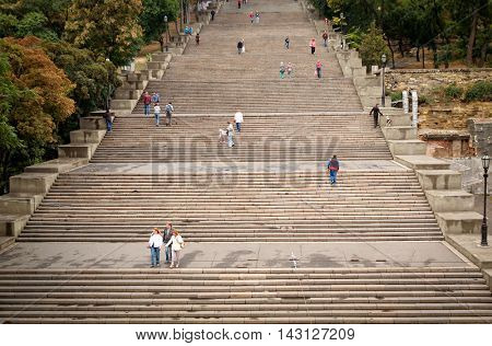 ODESSA, UKRAINE SEPT 13, 2012:  Potemkin stairs.  The stairs are considered a formal entrance into the city from the direction of the sea and are the best known symbol of Odessa.