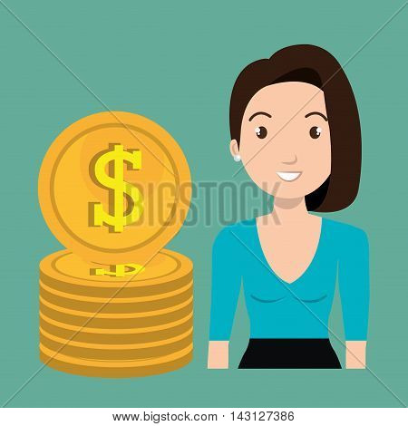 woman currency money dollar vector illustration graphic