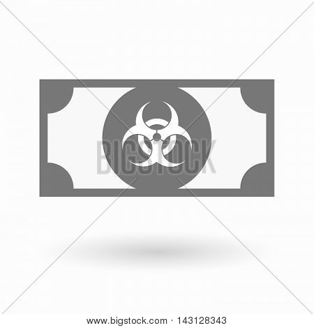 Isolated Bank Note Icon With A Biohazard Sign