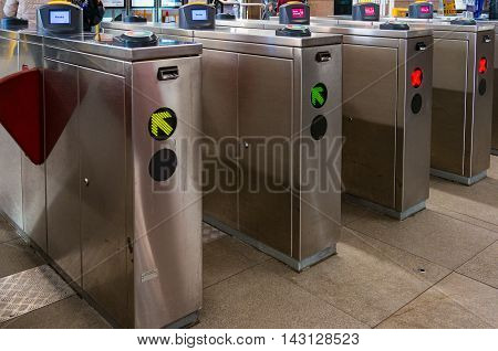 Sydney Australia - Jul 10 2016: Circular Quay Opal Automatic ticket gates of new Sydney Train Tap On Tap Off electronic ticketing transport fare system