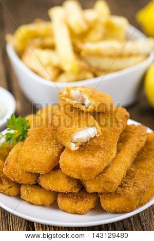 Portion Of Fish Fingers (selective Focus)