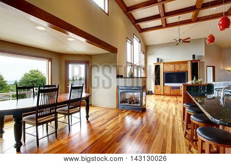 Open Floor Plan. Living Room, Kithen And Dining Area