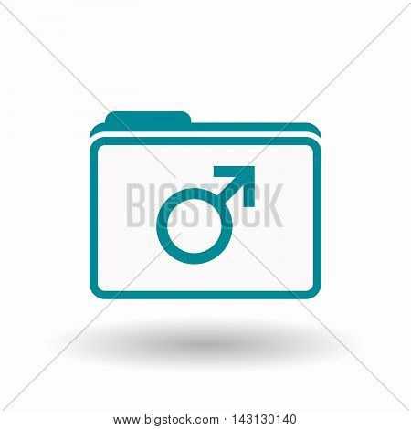 Isolated  Line Art  Folder Icon With A Male Sign