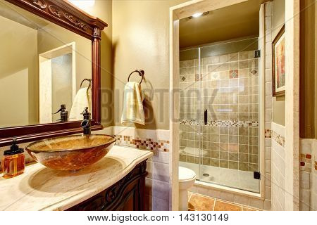 Bathroom interior in luxury house. Rich bathroom vanity cabinet with vessel sink and mirror. View of shower. Northwest USA poster