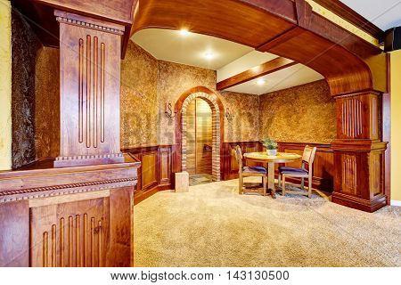 Luxury Dining Room Interior With Wooden Trim And Carpet Floor.