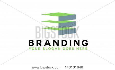 Real estate logo icon. Building logo illustration. Floors logo design. Branding for architecture company. Vector logo mark.