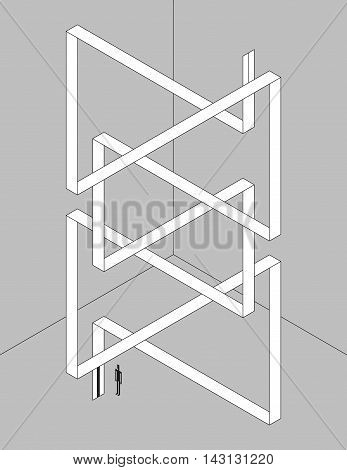 Monochrome isometric illustration. Schematic twisted ribbon as an elevator with optical illusion.