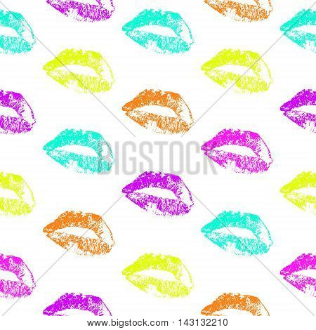 Seamless Pattern With Color Lips For Any Texture