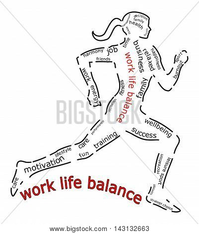 Work Life Balance wordcloud  on white background - illustration