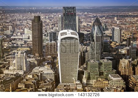 London, England - Aerial view of bank district with famous skyscrapers