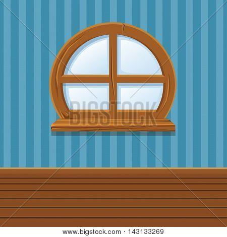 Cartoon Wooden window, Home Interior in vector