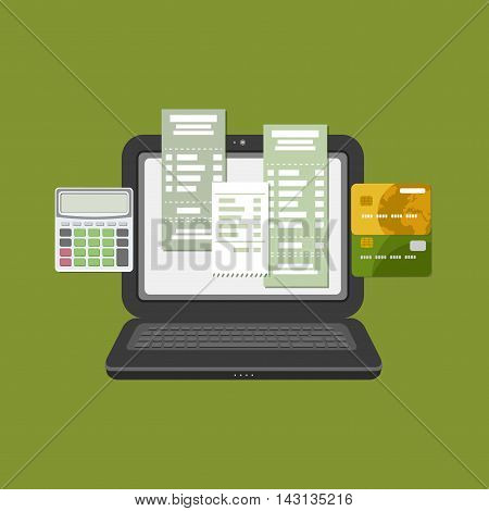 Concept of pay bill tax check online account via computer or laptop. Online payment. Laptop with check invoice on the screen. Bank card transfer. Credit bank cards with calculator. Vector