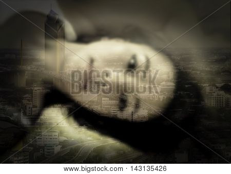 double exposure and de-focused beautiful Asian woman in bed townscape background vintage tone black vignette concept single woman in urban feel lonesome