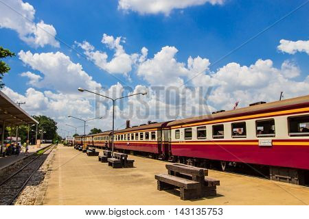 BANGKOK THAILAND - JULY 17, 2016 : Train in railway track at Bang Sue station on july 17,2016 in Bangkok. Here is Train station in Bangkok - Thailand.