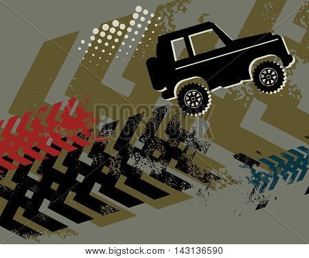 Off-road race absctract color background, vector illustration