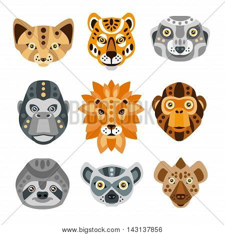 African Animals Stylized Geometric Heads Set Of Flat Colorful Vector Icons Isolated On White Background