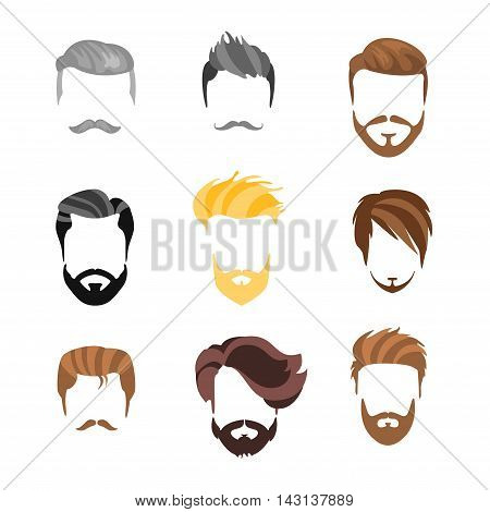 Male Haisrtyle Constructor For Face Set.Hair, Beard And Moustache Style Design Templates