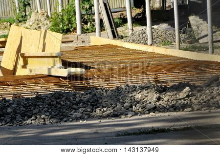 Rebar grids in a concrete floor. construction work on a construction site