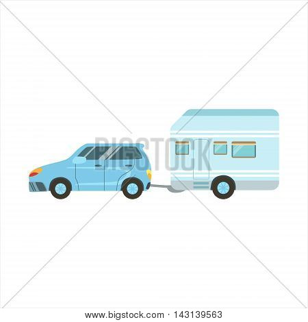Car Pulling The Trailer Icon. Family Motorhome Flat Colorful Car. Microbus For Family Vacation Isolated Illustration.