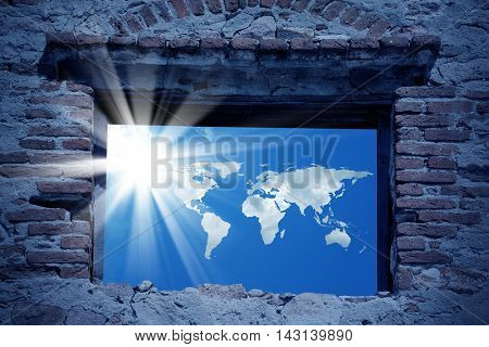 conceptual image of world map and sunny sky. Furnished NASA world map image used for this image.