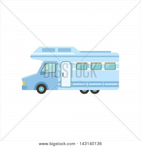 Travel Van Icon. Family Motorhome Flat Colorful Car. Microbus For Family Vacation Isolated Illustration.