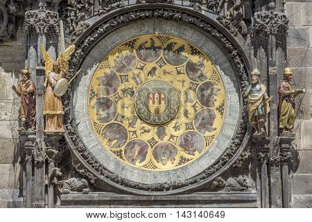 PRAGUE, CZECH REPUBLIC, JULY 6,2016: Calendar plate of Prague astronomical clock, a medieval astronomical clock  first installed in 1410, making it the third-oldest astronomical clock in the world.