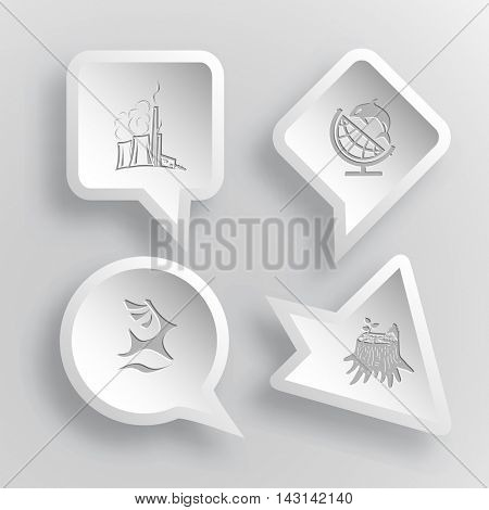4 images: thermal power engineering, globe and shamoo, deer, stub. Ecology set. Paper stickers. Vector illustration icons.