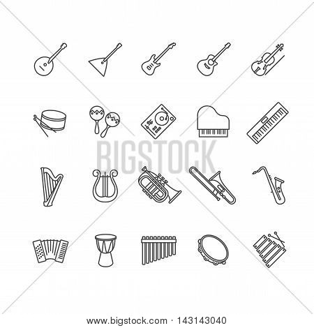 musical instruments icons set for your design