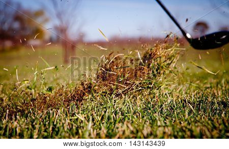 Close up of chip shot in dry grass.