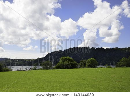 Fileds and Clouds over Lake Windermere Cumbria
