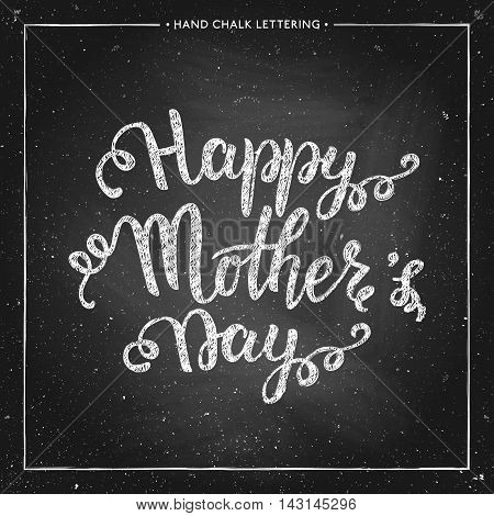 Happy Mothers Day Card - hand drawn chalk lettering on chalkboard Mothers Day typographical background design for greeting card poster banner printing mailing vector illustration