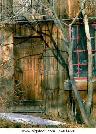 closed wooden door at old building in the winter leverett massachusetts poster