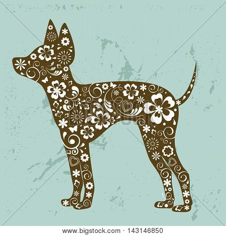 Russian toy terrier with floral ornament decoration