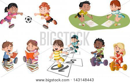 Cute happy cartoon children playing. Sports and toys.