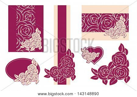 Templates and design elements with roses. Stylized vector Illustration in retro style.