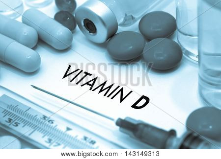 Vitamin d. Treatment and prevention of disease. Syringe and vaccine. Medical concept. Selective focus