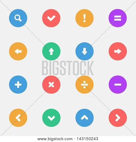 Control Signs and Navigation flat icons set