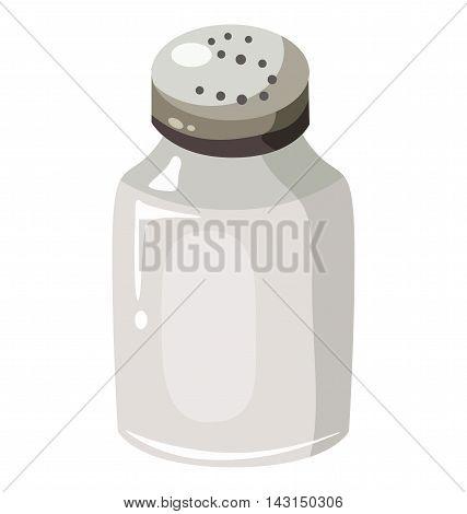 Glass saltcellar with salt. Flat design. Eps 10