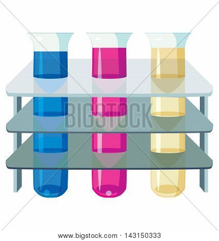 three test tubes with colorful liquids. Eps 10