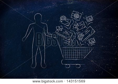 Client's Shopping Cart With Gift Cars And Coupons, Customer Fidelization
