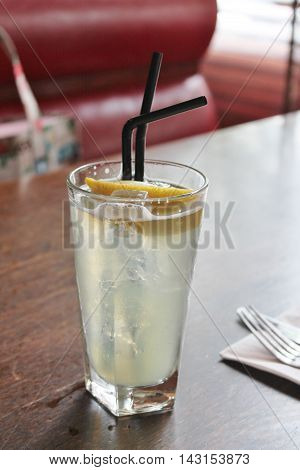 Lynchburg lemonade cocktail on table in diner