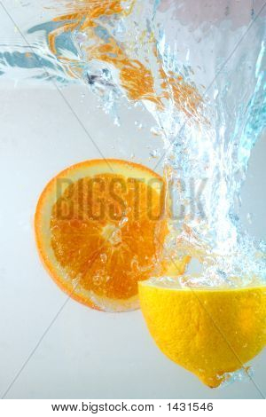 Orange And Lemon In Water