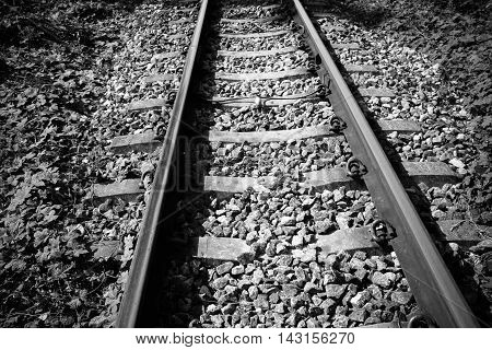 ailway or railroad tracks for train transportation vintage