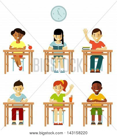 Multicultural kids group sit at desks in classroom isolated on white background