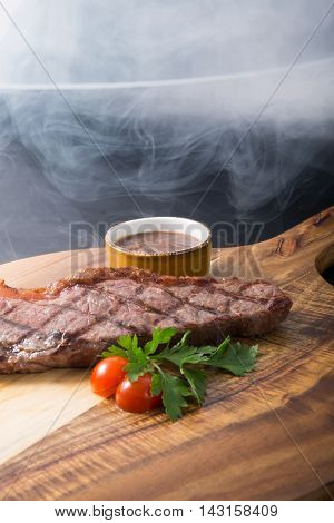 Fresh grilled beef steak with ketchup sauce