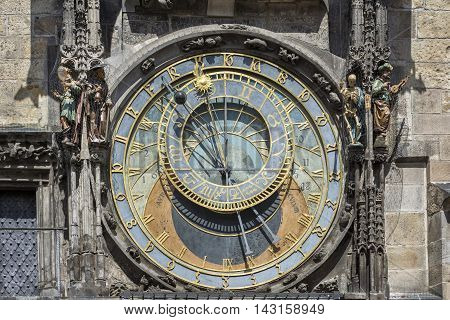 PRAGUE, CZECH REPUBLIC, JULY 6,2016: Astronomical dial of Prague astronomical clock, a medieval astronomical clock  first installed in 1410, making it the third-oldest astronomical clock in the world.