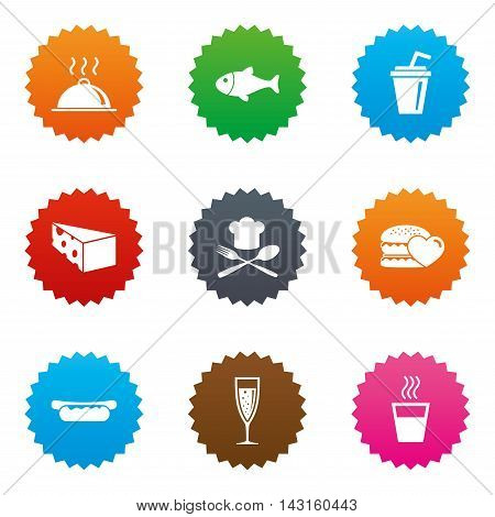 Food, drink icons. Alcohol, fish and burger signs. Hot dog, cheese and restaurant symbols. Stars label button with flat icons. Vector