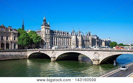 Castle Conciergerie is a former prison located on west of the Cite Island and today it is a part of Palais de Justice Paris France