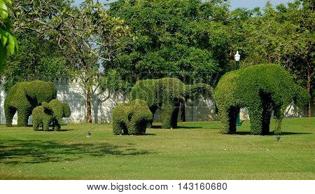 Bang Pa-in Thailand - December 27 2005: Topiary elephants in the gardens of the Royal Summer Palace